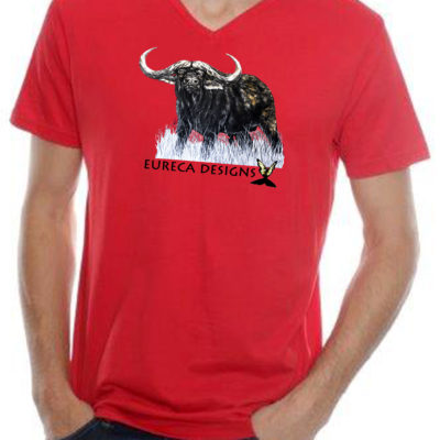 Buffel3 - Mens V-Neck - Red