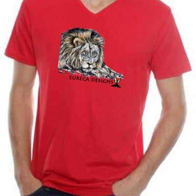 Leeu1 - Mens V-Neck - Red
