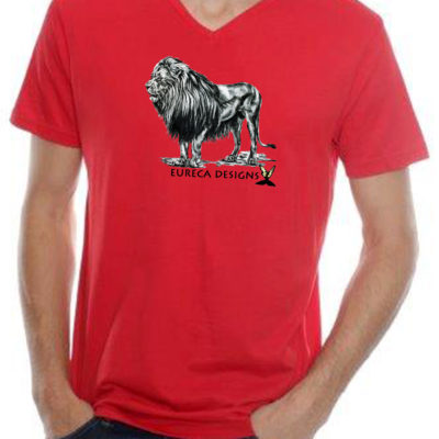 Leeu2 - Mens V-Neck - Red