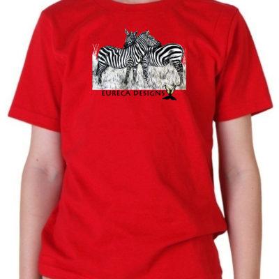 Zebras1 - Kids Crew Neck - Red