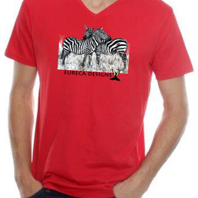 Zebras1 - Mens V-Neck - Red